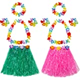 Mtlee Elastic Hawaiian Hula Grass Skirt with Flower Costume Set for Party Beach Dance Fancy Dress, Multicolor, 2 Sets