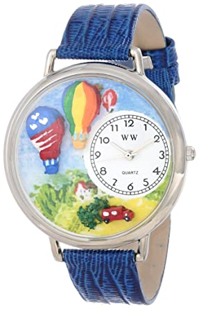 Whimsical Watches Uniu1610010 Air Balloons Royal Blue Leather Watch