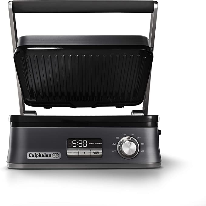 Amazon.com: Calphalon Even Sear Indoor Electric Grill, Multi, Dark Stainless Steel: Kitchen & Dining
