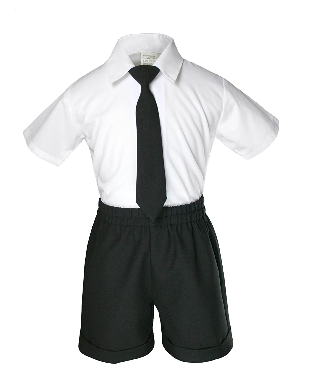 S: 0-6 months Boys Black Shorts Vest Sets Suits Outfits Extra Gold Necktie Baby Toddler