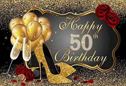 7x5ft Happy 50th Birthday Balloons Photo Backdrop For Photography Backgrounds Studio Prop
