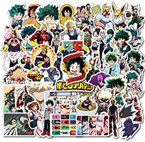 My Hero Academia Sticker Pack of 50 Stickers - Waterproof Durable Stickers Classic Japanese Anime Stickers for Water Bottles Computers Laptops