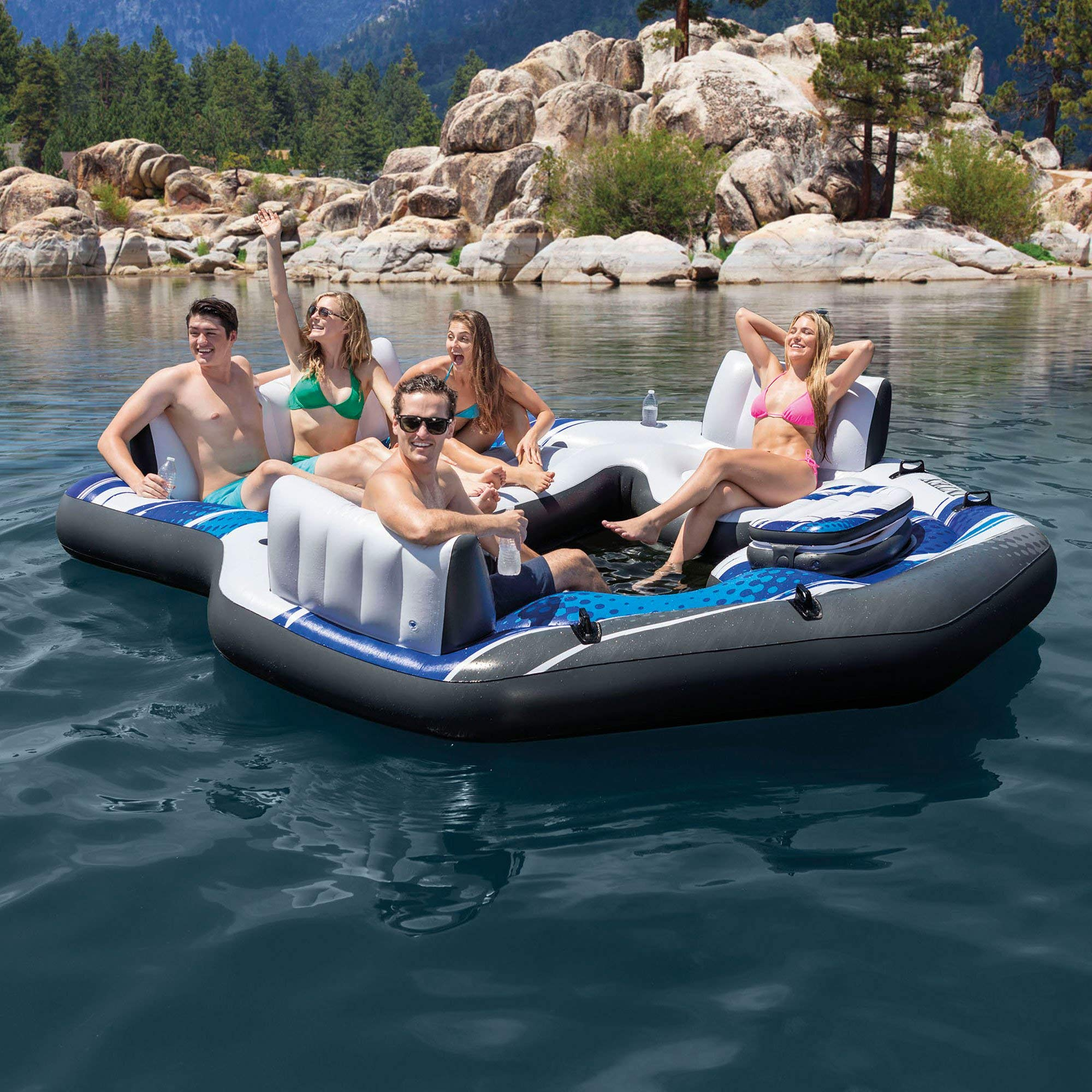 Intex Blue Tropical Island 5 Seat Floating Lounge Raft w/ 4 Cup Holders | 5727EP by Intex (Image #3)