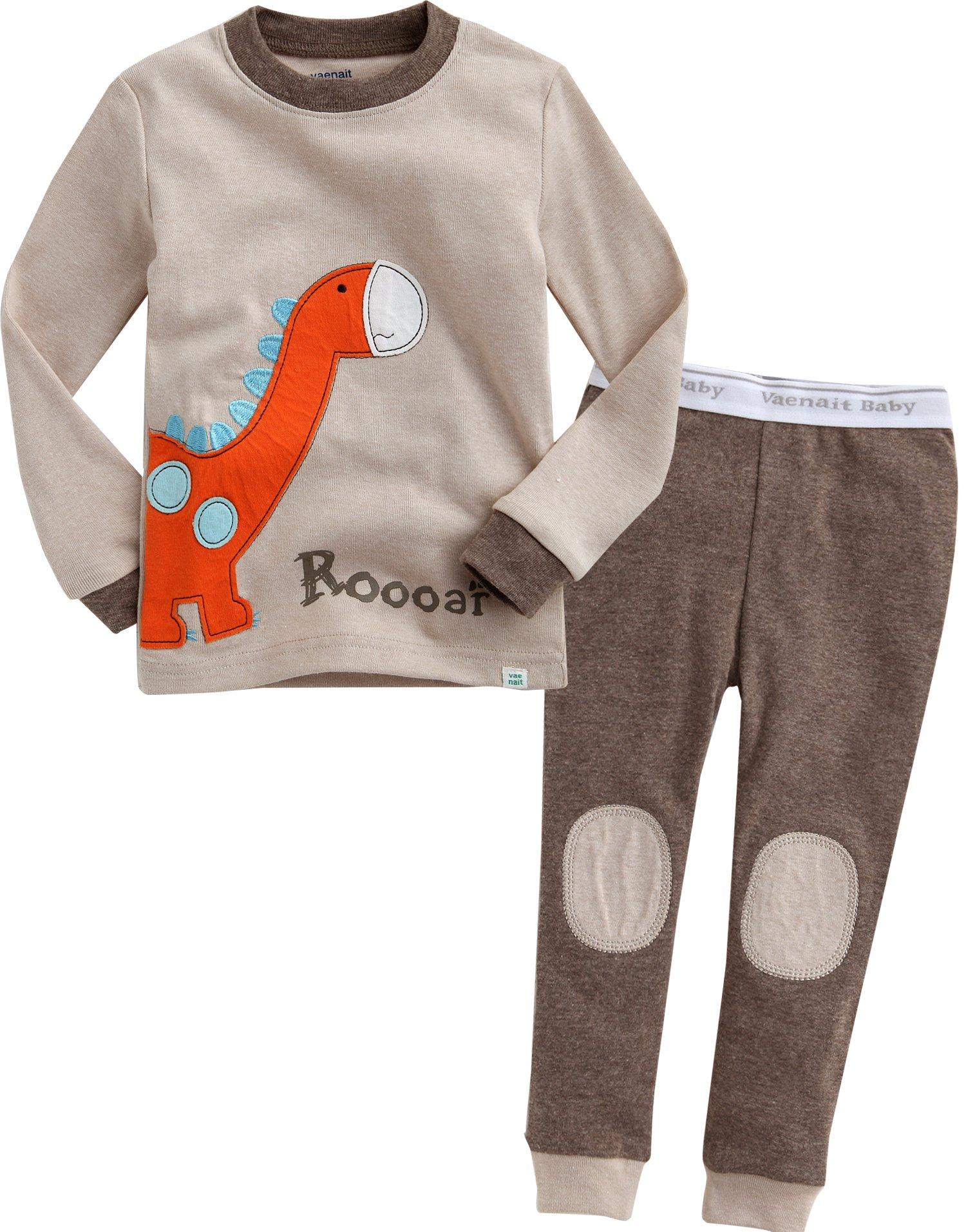 Vaenait baby 12M-7T Kids Boys Sleepwear Pajama 2pcs Set Brown Dino L