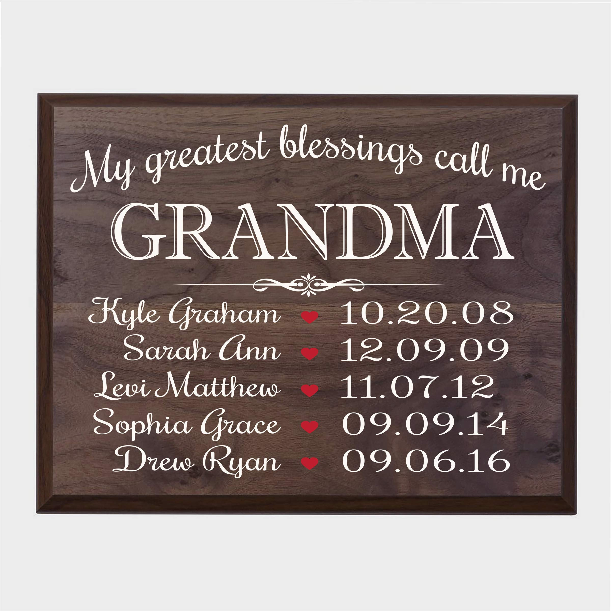 LifeSong Milestones Personalized Gifts for Grandma Wall Plaque Sign with Children's Names Birth Dates to Remember My Greatest Blessings Call me Grandma (Walnut) by LifeSong Milestones (Image #1)