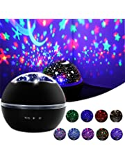 Star Night Light, Cre-Heaven Baby Night Light Star Moon Rotating Projector Bedside Lamp Color Changing Timer Setting for Kids Christmas Gifts (Black)