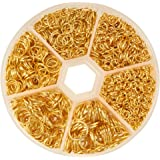 PandaHall Elite 1 Box Iron Plated Jump Rings 4mm to 10mm with Container Gold