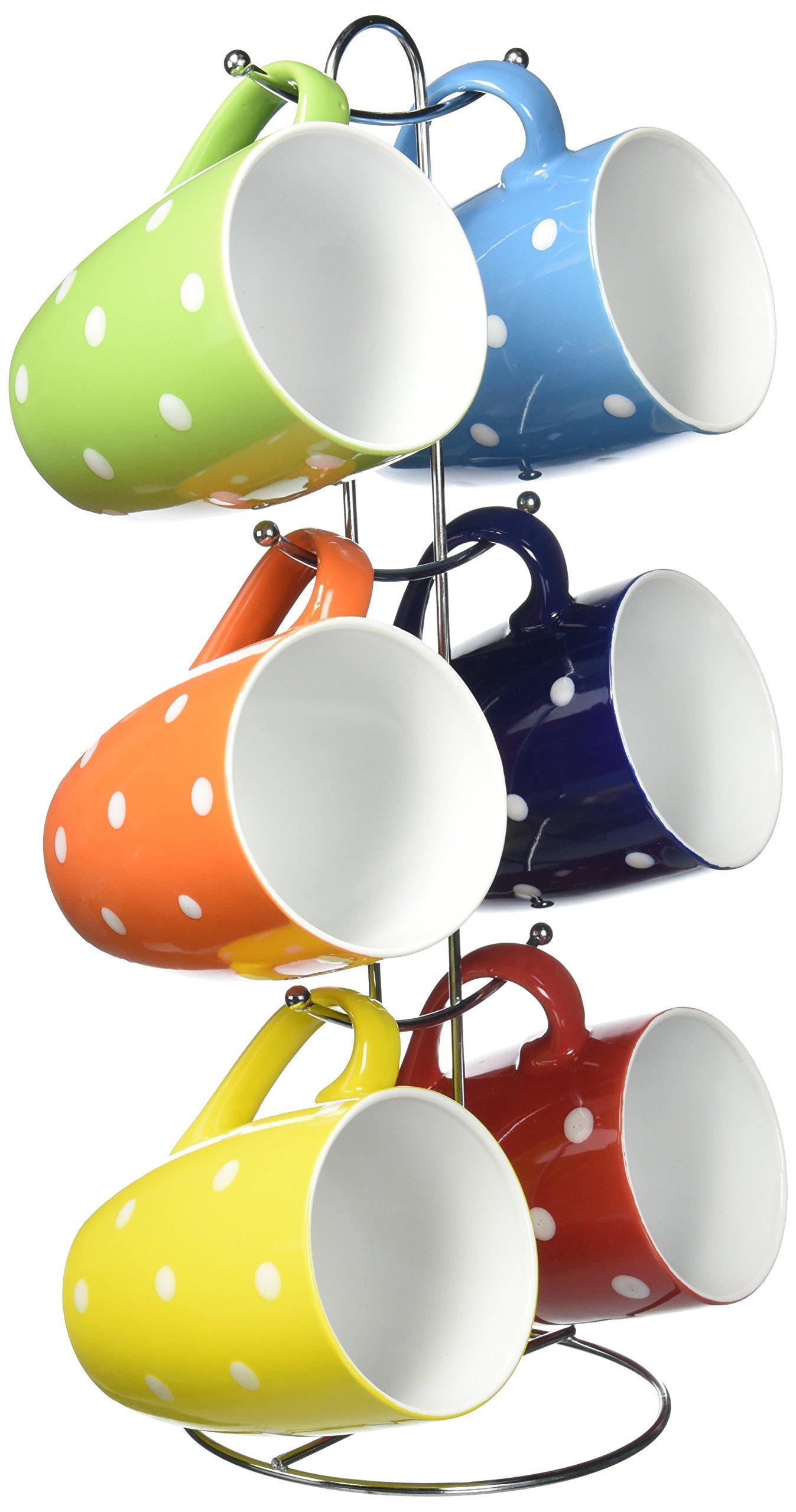 Uniware 11 Oz Bone China Porcelain Mug, Set of 6 with Stainless Steel Stand & Gift Box