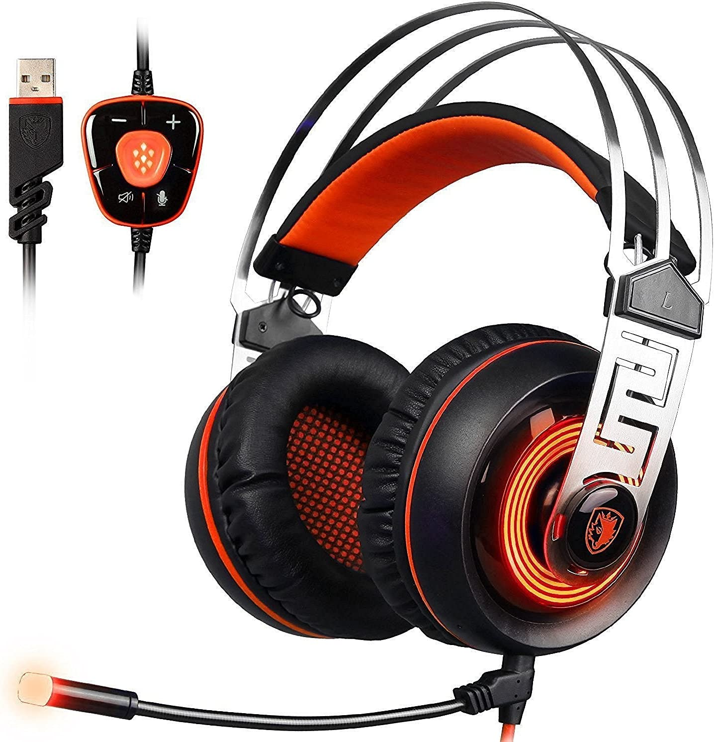 SADES A7 USB 7.1 Surround Sound Professional Stereo Gaming Headphone Video Led Lighting Headsets with Microphone for Laptop PC (Orange)