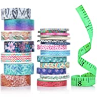 Cute Washi Tape Set with 3 Sizes | 15mm 8mm and 3mm Pack Wide and Thin | DIY Tape | Decorative Craft Tape | Colorful Washi Tape | Floral Fall Art | Gift Wrap Fun Tape | Scrapbook Tape | 21 Rolls