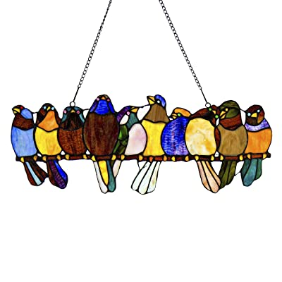 River of Goods Birds on a Wire 9.5 Inch High Stained Glass Suncatcher Window Panel