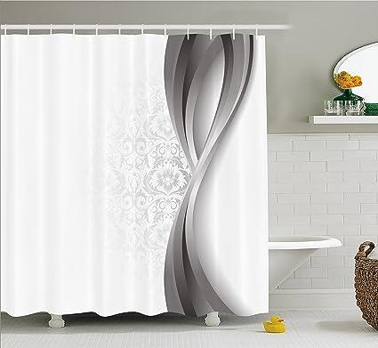 Cortina de ducha de plata por Ambesonne, Wavy vertical rayas curvado con tela de flores