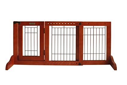 Simply Plus Wooden Pet Gate, Freestanding Pet Dog Gate, For Indoor Home U0026  Office