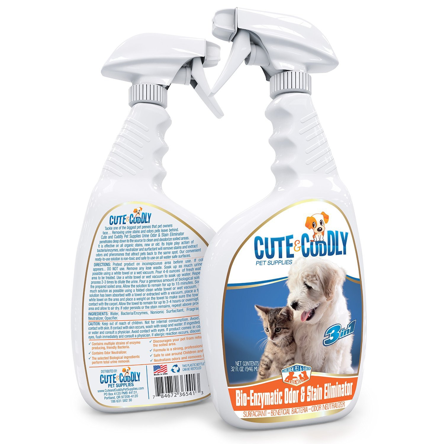 Pet Stain and Odor Remover Spray by Cute and Cuddly Pet Supplies. Clear Your Home Of Pet Smells and Pee Stains. 32 OZ. by Cute and Cuddly Pet Supplies: ...