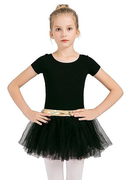 a9bd1d326a8f Amazon.com   DANSHOW Girls  Short Sleeve Tutu Leotards for Dance ...