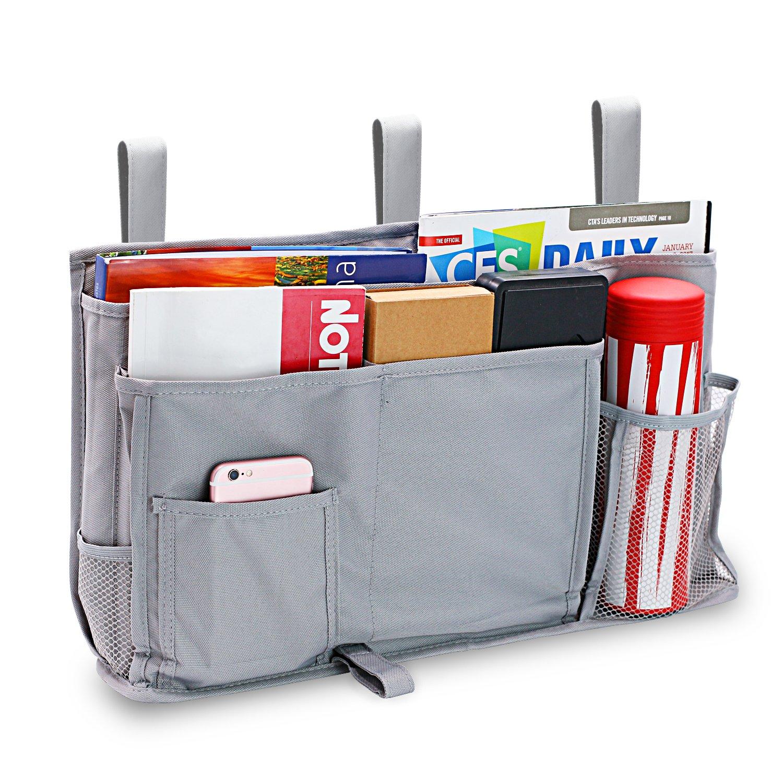 Startostar 8 Pocket Bedside Storage Bag Caddy Hanging Storage Organizer for Books with Updated Strap Design - Best for Headboards, Bed Rails, Dorm Rooms,Bunk Beds, Hospital Beds (Gray)