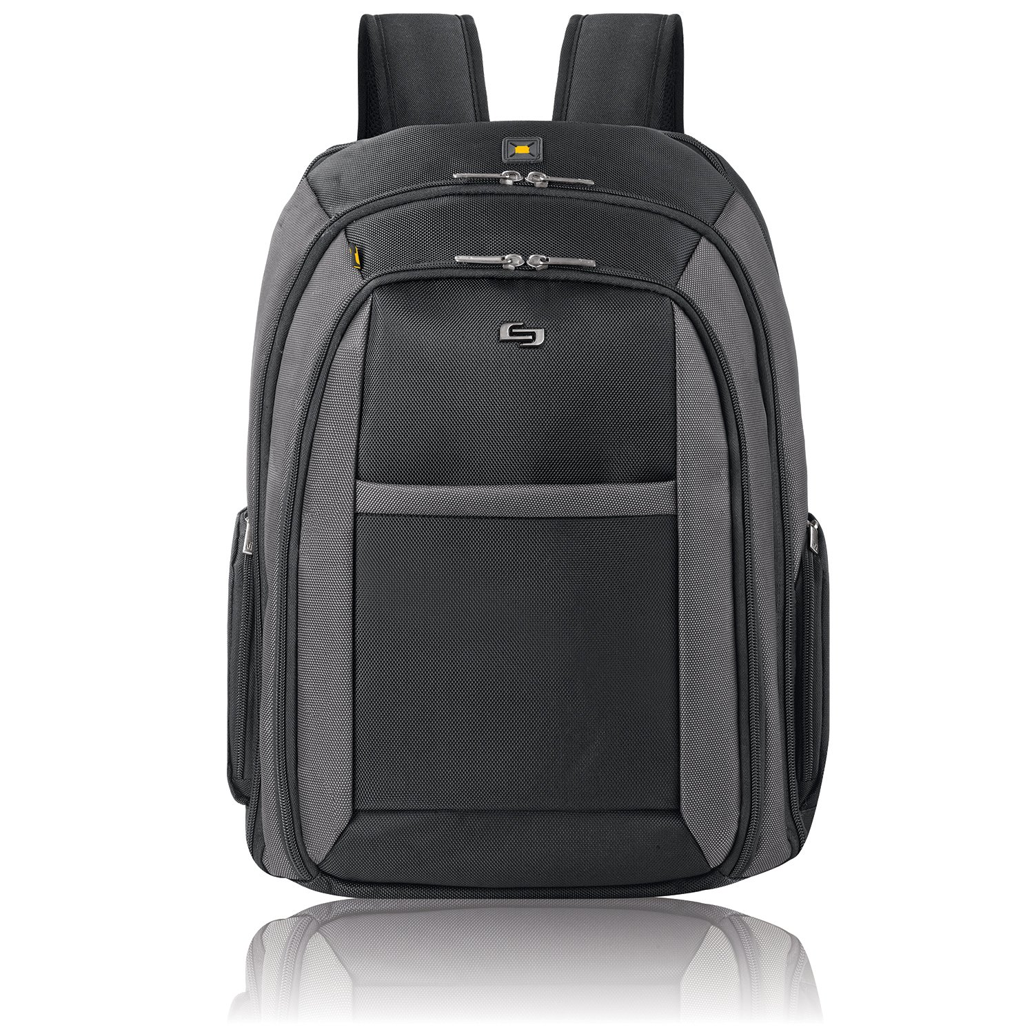 "Solo Metropolitan 16"" Laptop Backpack with Removable Sleeve, Black/Grey"