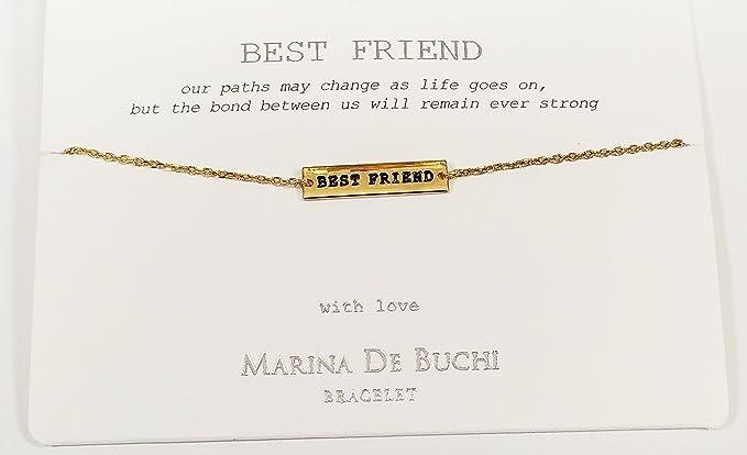 1916089dc1bc7 BEST FRIEND Named Marina De Buchi Bracelet Gold Plated By Sterling Effectz
