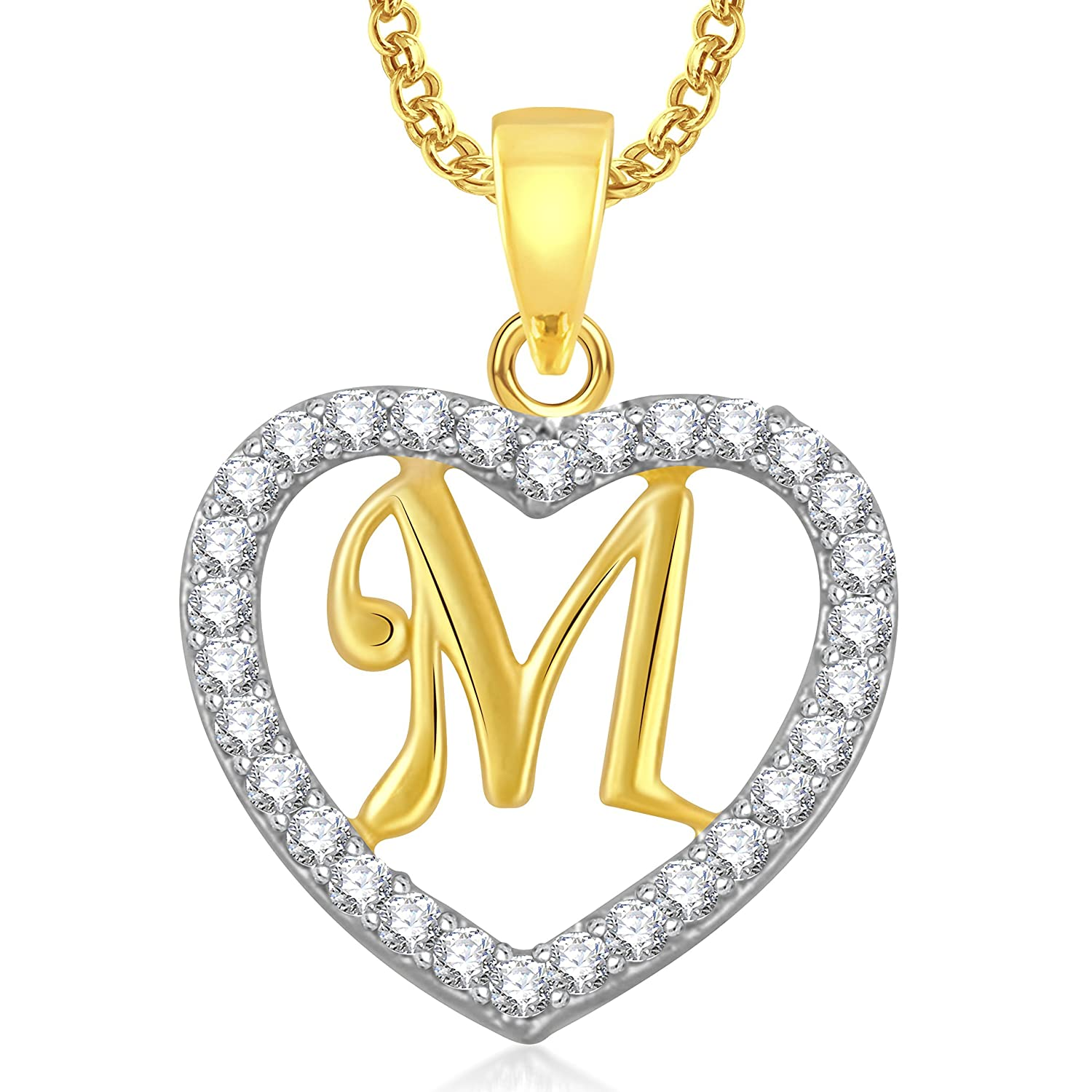 Buy Meenaz Gold Plated \'M\' Alphabet With Chain In American Diamond ...