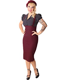 caa9d6ba2931d8 SugarShock Damen Kleid Carlyn Rockabilly Polka Dots Hosenträger Pencilkleid