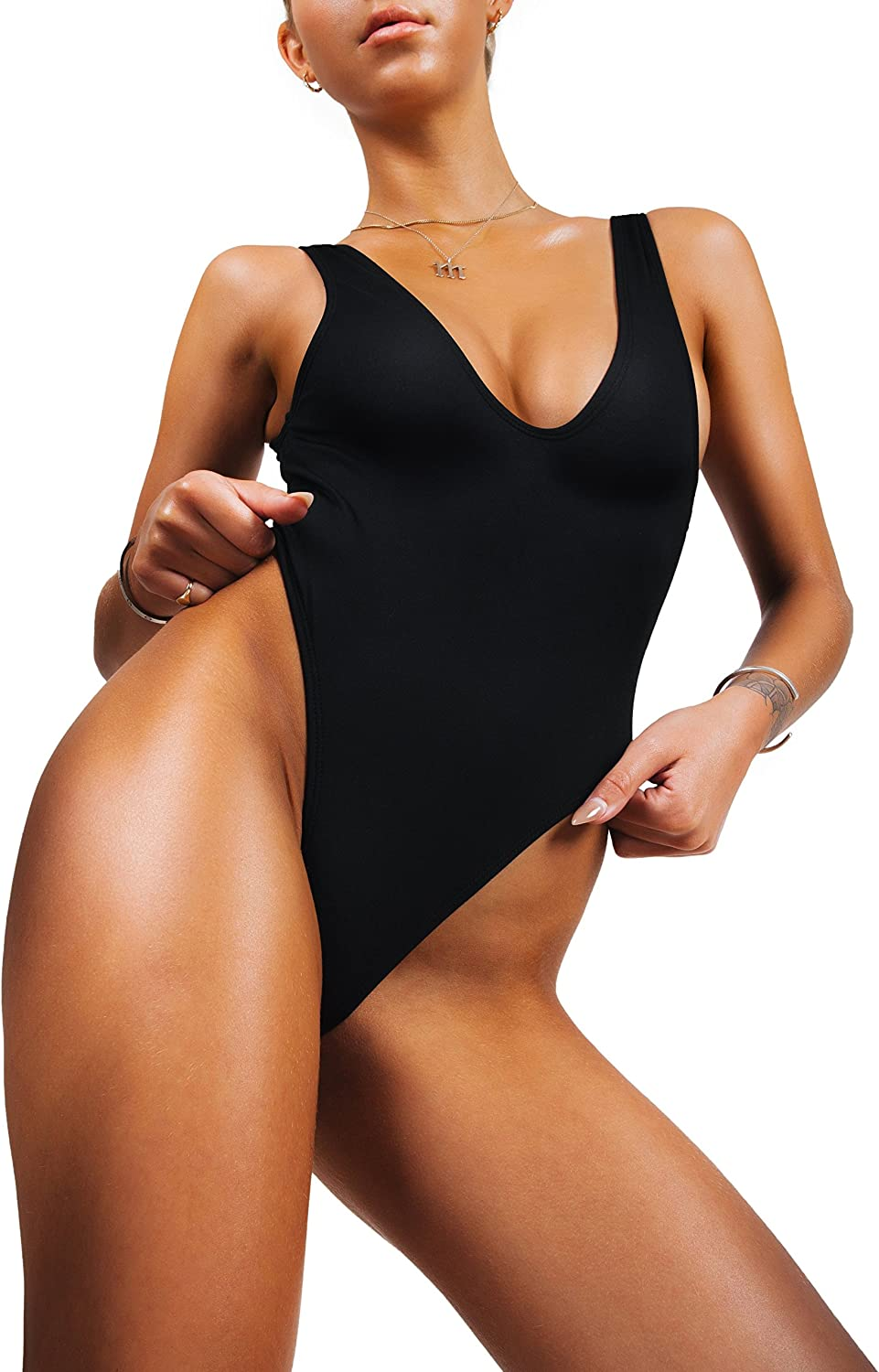Sofsy One Piece Swimsuit For Women Bathing Suit High Cut Low Back