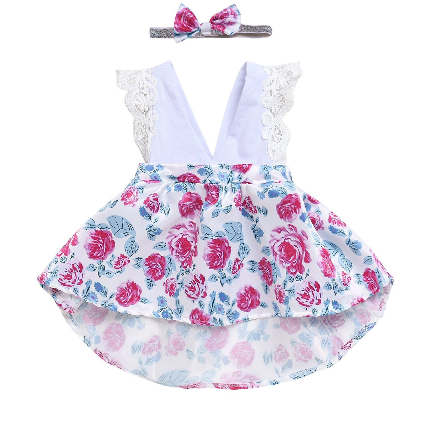 HappyMA Toddler Baby Girl Clothes Floral Dress Lace Ruffle Sleeveless Backless Skirt with Headband 2Pcs Outfit