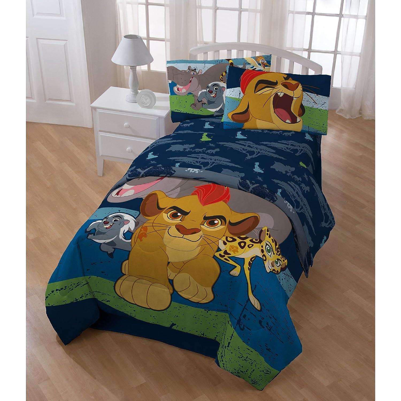5 PieceディズニージャングルライオンガードPatternedリバーシブルシートセットツインサイズ、印刷サファリ動物ライオンPorcupineチーターHippo鳥寝具、太字Playful Modern Animal Lovers Bed in aバッグスタイル、ネイビー B074M74KD9