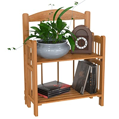 Bookcase for Decoration, Home Shelving, and Organization by Lavish Home- 2 Shelf, Folding Wood Display Rack for Home and Office (Light Brown): Kitchen & Dining