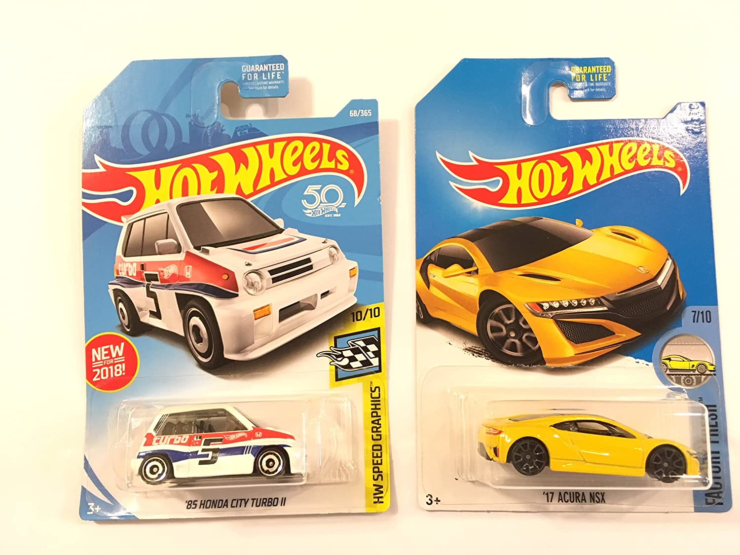 Amazon.com: Hot Wheels 2017 Factory Fresh 17 Acura NSX 127/365, Yellow & Hot Wheels 2018 50th Anniversary HW Speed Graphics Honda City Turbo II 68/365, ...