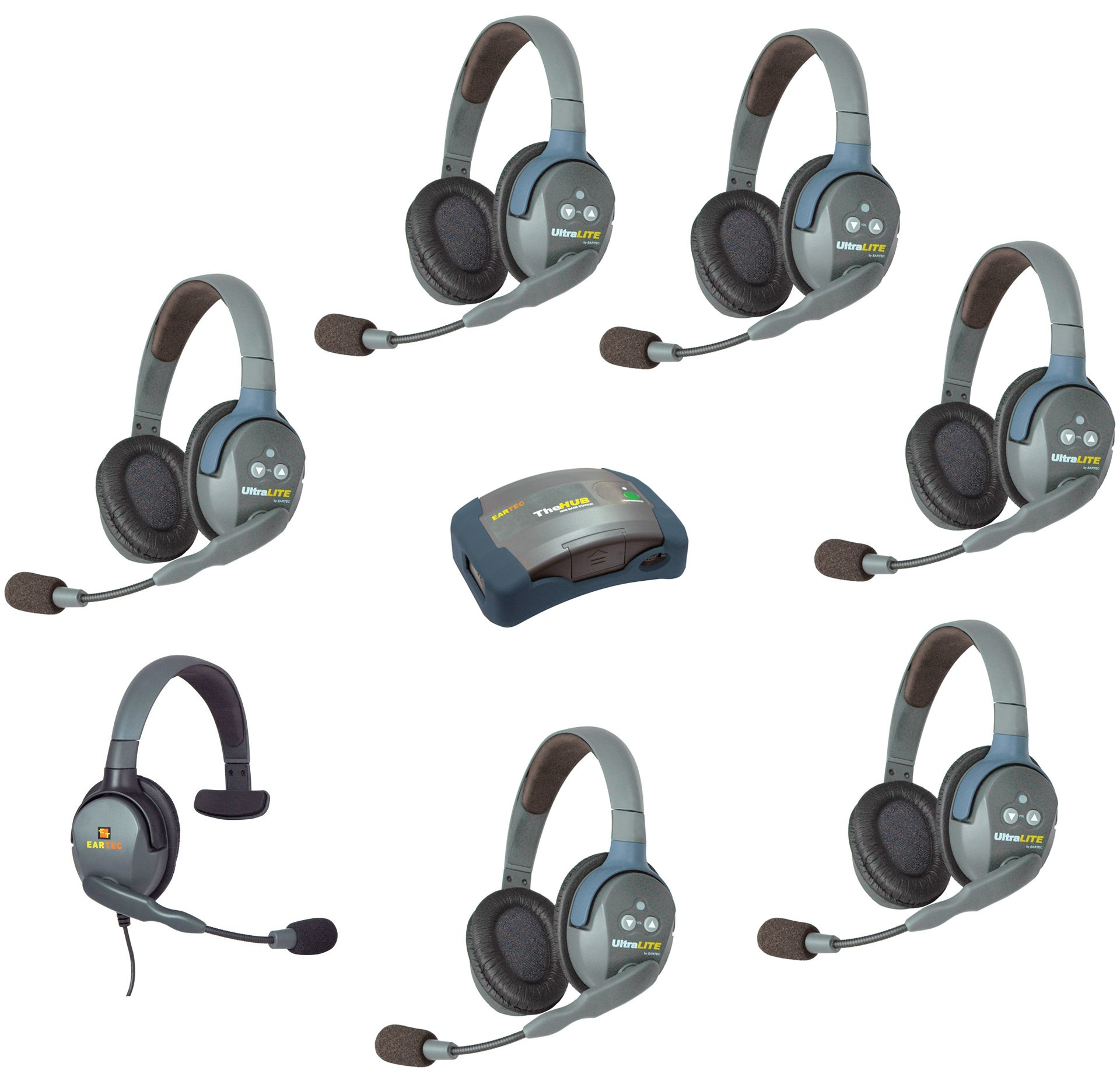 Eartec HUB7DMXS - 7 Person System with 6 Double Wireless Communication Headsets, 1 Max4G Single Headset and 1 HUB Mini Base Transceiver