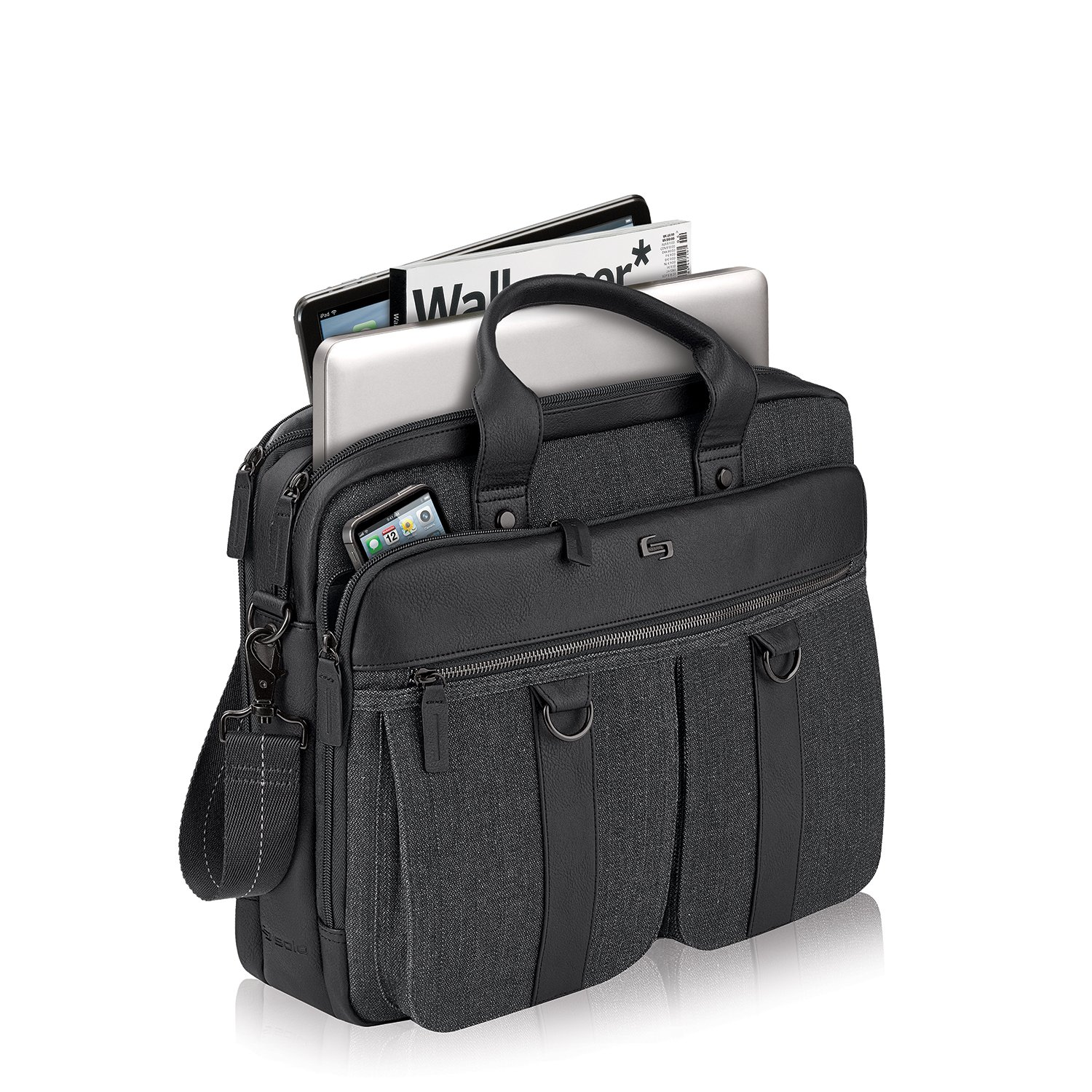 Solo Mercer 15.6 Inch Laptop Briefcase, Black/Grey by SOLO (Image #4)
