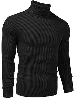 adbc4ea4 Vansop Men Basic Ribbed Knit Turtleneck Long Sleeve Slim Fit Pullover  Sweater S-XXL