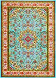 10015 Blue 5'2x7'2 Area Rug Carpet Large New