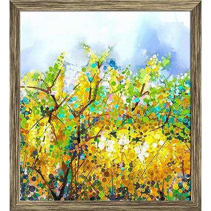 Artzfolio abstract yellow flowers canvas painting antique golden artzfolio abstract yellow flowers canvas painting antique golden frame 8 x 87inch mightylinksfo