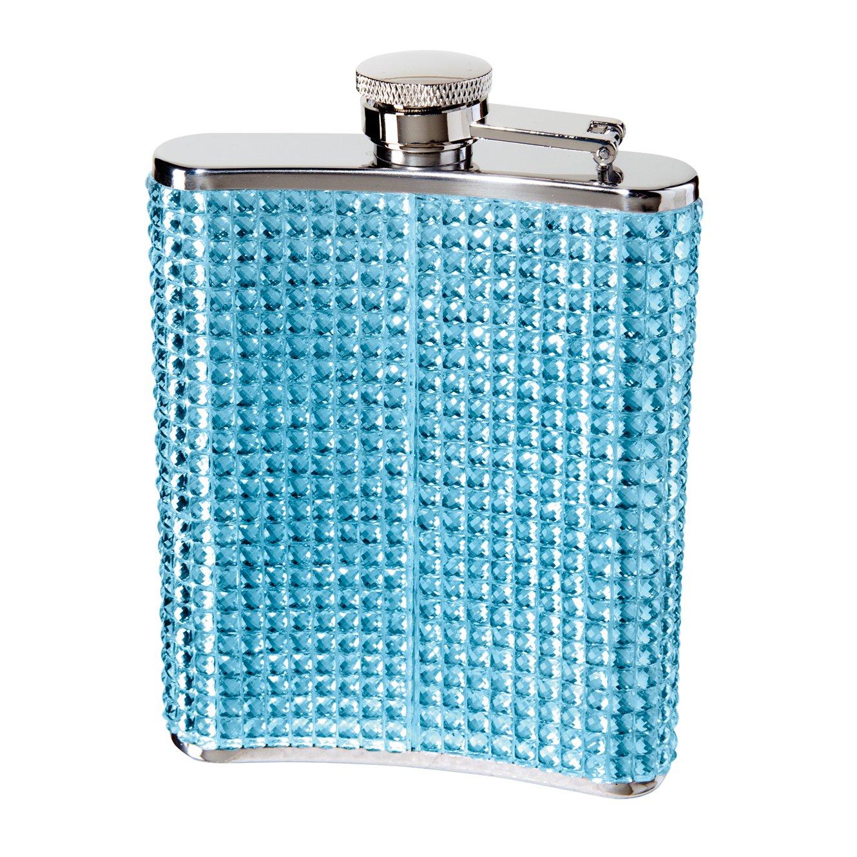 Oggi 9248.5 Glitter and Glitz Stainless Steel Hip Flask Blue