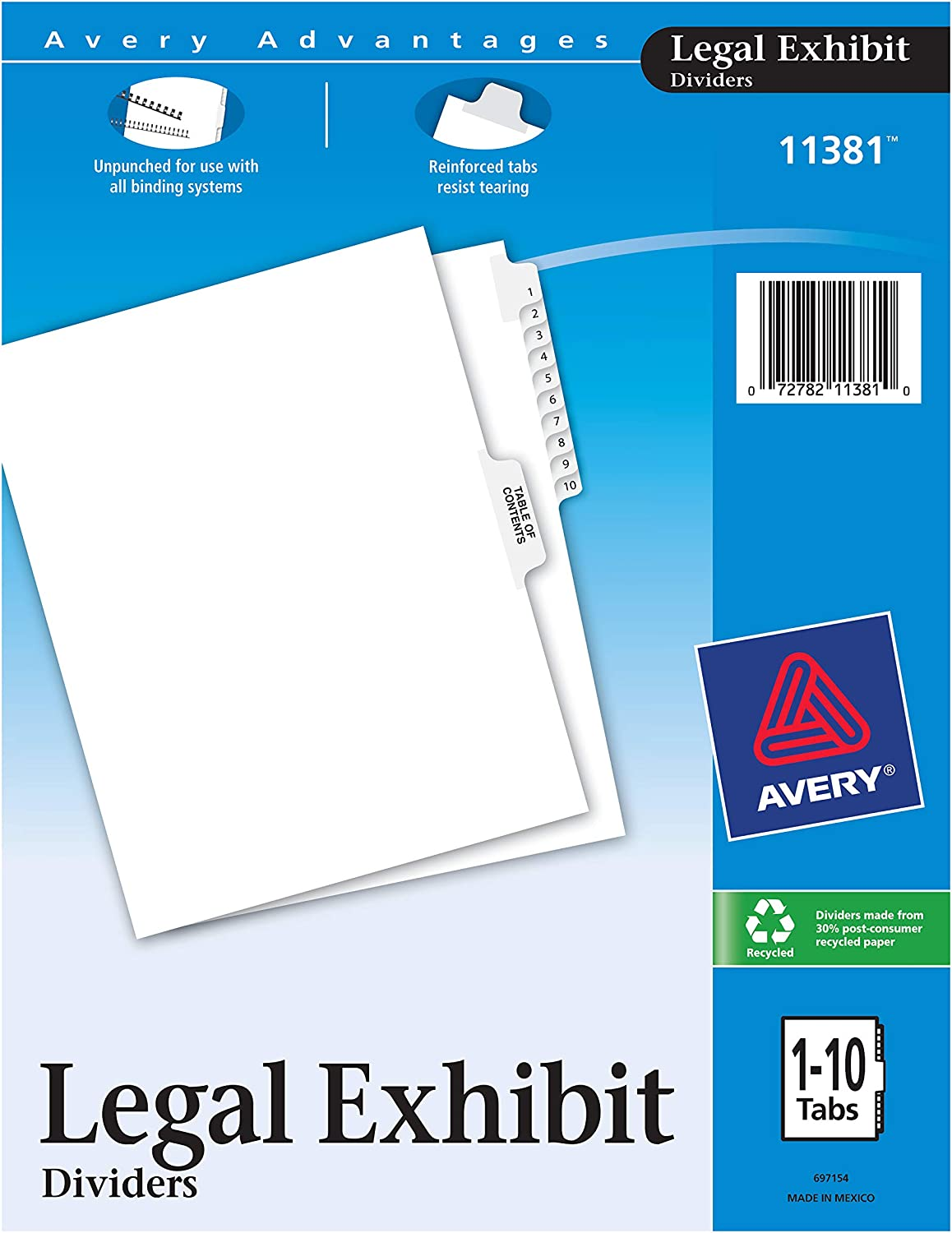 Letter Size 1070 Avery Individual Legal Dividers