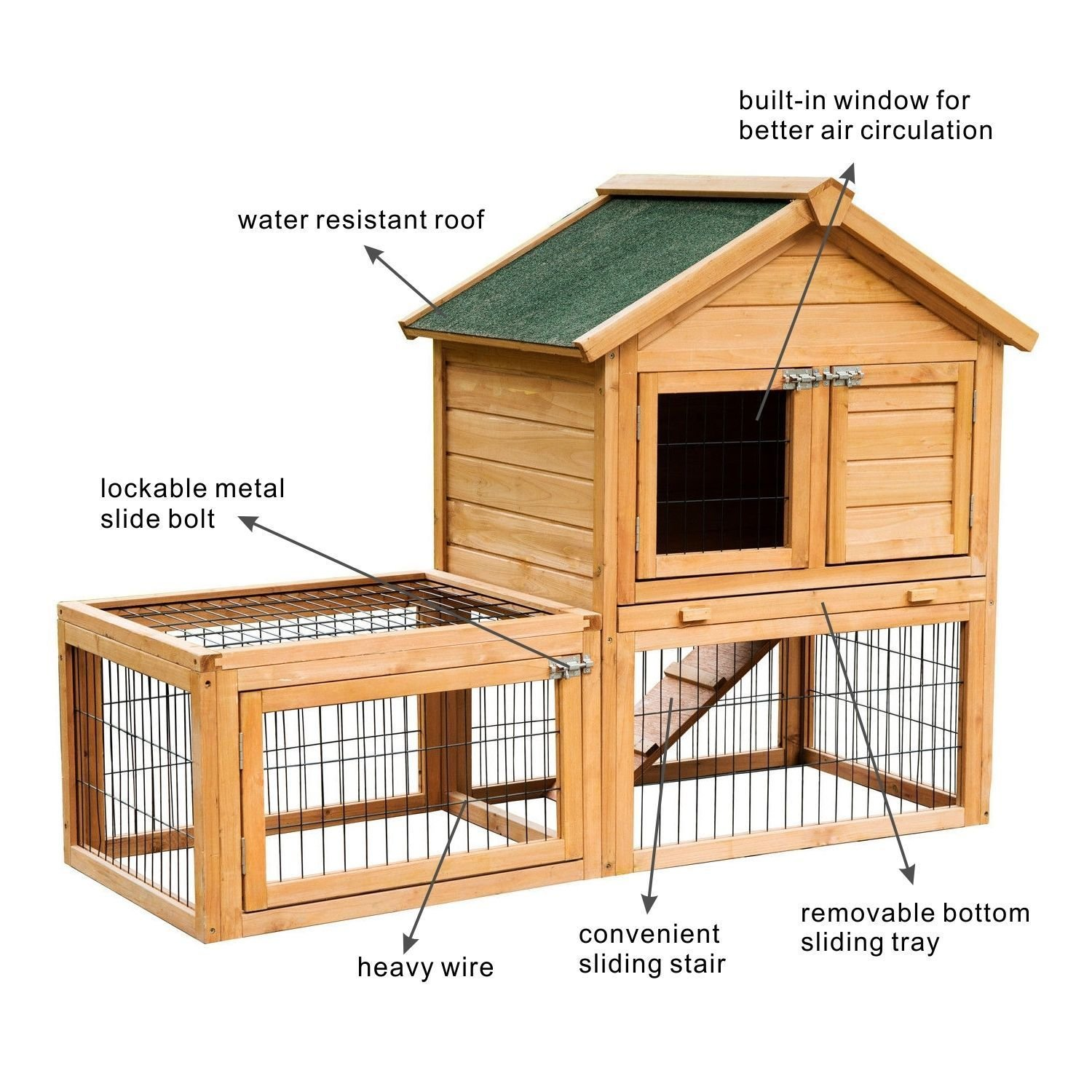 Eight24hours 53'' Wooden Chicken Coop Rabbit Hutch Small Pet House Hen Cages + FREE E-Book by Eight24hours (Image #3)