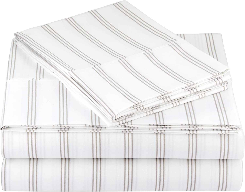 AmazonBasics Light-Weight Microfiber Sheet Set - Queen, Grey Stripe