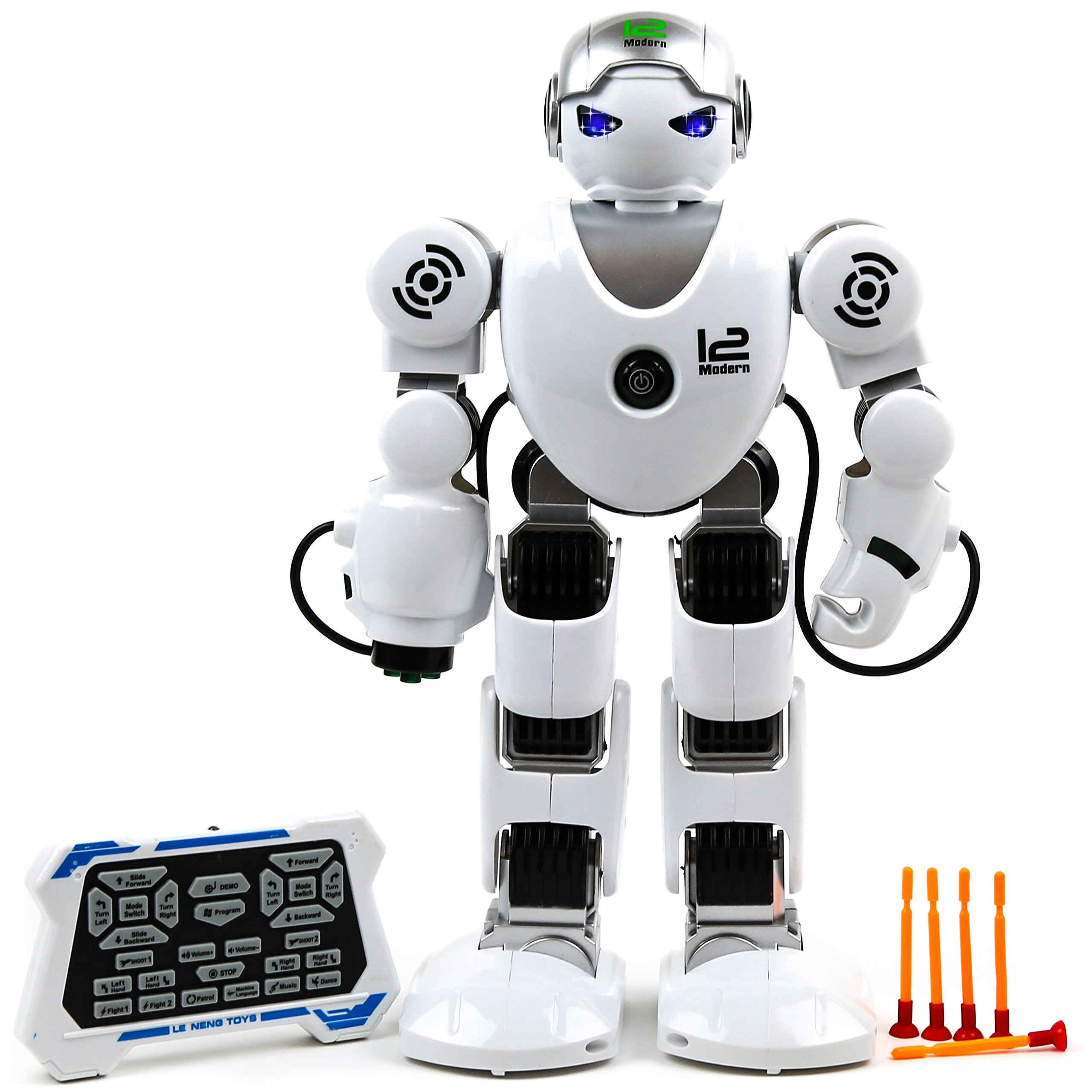 Toysery Remote Control Robot Toy For Kids - RC Robot Toy with Colorful LED Flashing Lights and Walking Shoot Music Dance Arm-swing - Powered by Built-in USB Rechargeable Battery