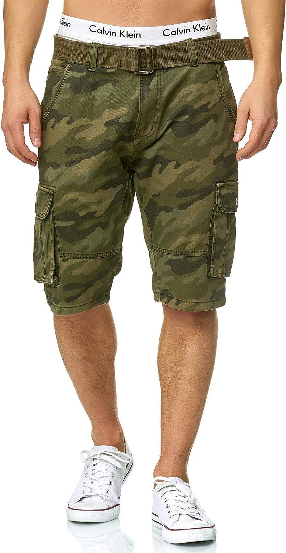 Indicode Homme Monroe Cargo ZA Short avec 6 Poches et Ceinture 100//% Coton Court Pantalon Bermuda /ét/é Homme Men Pants Pantalon Cargo d/'/ét/é pour Homme