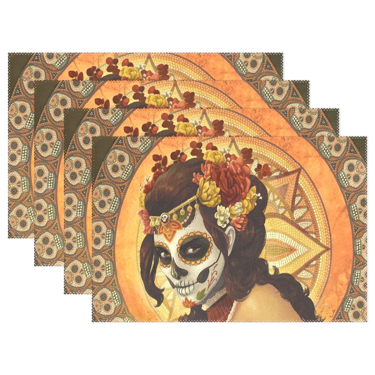 yochoiceヒップスターDay of the Dead Sugar Skull Faceプレースマットプレートホルダーのセット1、スタイリッシュなポリエステルテーブルの配置マットプロテクターキッチンダイニングルーム12