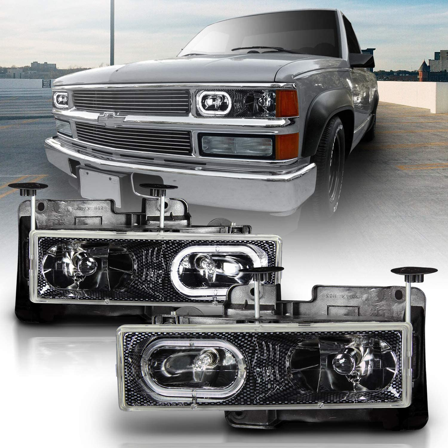 AmeriLite Clear Crystal LED Halo Headlights Pair for Chevy Fullsize Truck//SUV Passenger and Driver Side