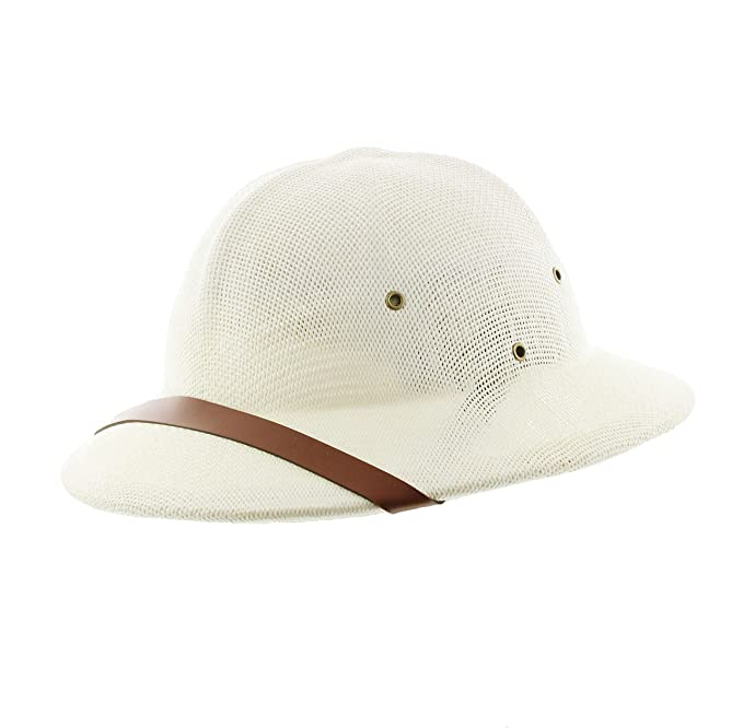 f2cf28057b062 Milani Straw Pith Helmet Outdoor Hat with Adjustable Headband for Jungle  Safari Explorer Costume (Ivory Brown Band) at Amazon Men s Clothing store