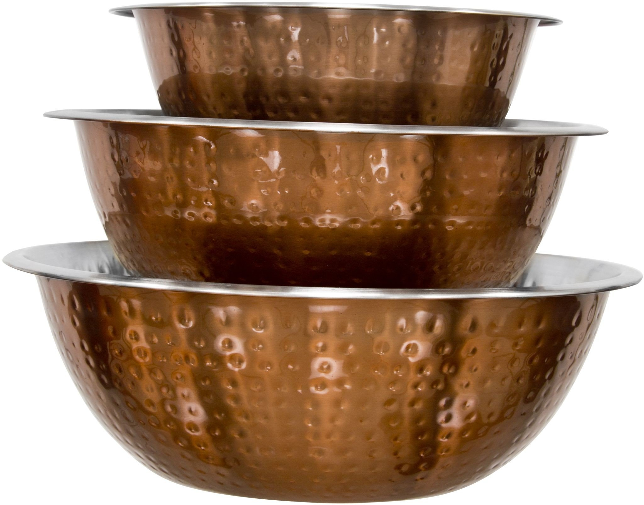Set Of 3 Copper Hammered Mixing Bowls With Stainless Steel Interior Finish Nesting Bowls, Chef Cookware Set, by Le'raze (Image #5)