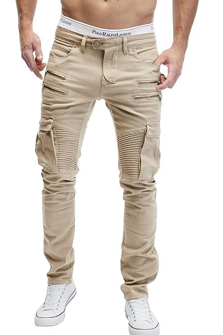 38 opinioni per MERISH Jeans Pantaloni Uomo Stile Biker Cargo Modell J2055 Beige chiaro 36/34