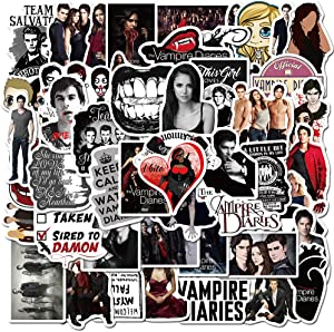The Vampire Diaries Waterproof Car Stickers/Decals (50 pcs) of American TV Series for Laptop Skateboard Snowboard Water Bottle Phone Car Bicycle Luggage Guitar Computer PS4 as Gift (Vampire)