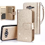 TabPow Galaxy J7 Case, 10 Card Slot - ID Slot, Wallet Folio PU Leather Case Cover With Detachable Magnetic Hard Case For Samsung Galaxy J7 J700 (2015) - Glitter Gold