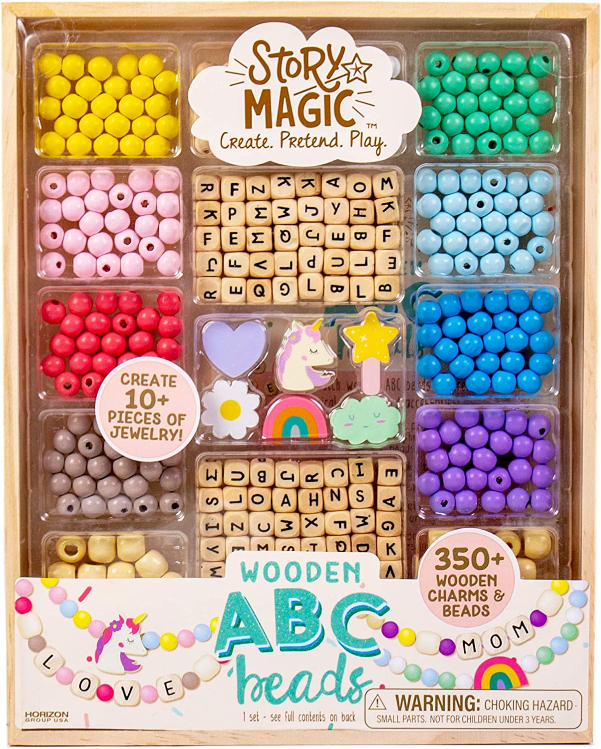 Story Magic Wooden ABC Beads by Horizon Group USA Premium Wood Jewelry Making Kit Makes 10+ Pieces of Jewelry Over 350 Wooden Beads /& Charms