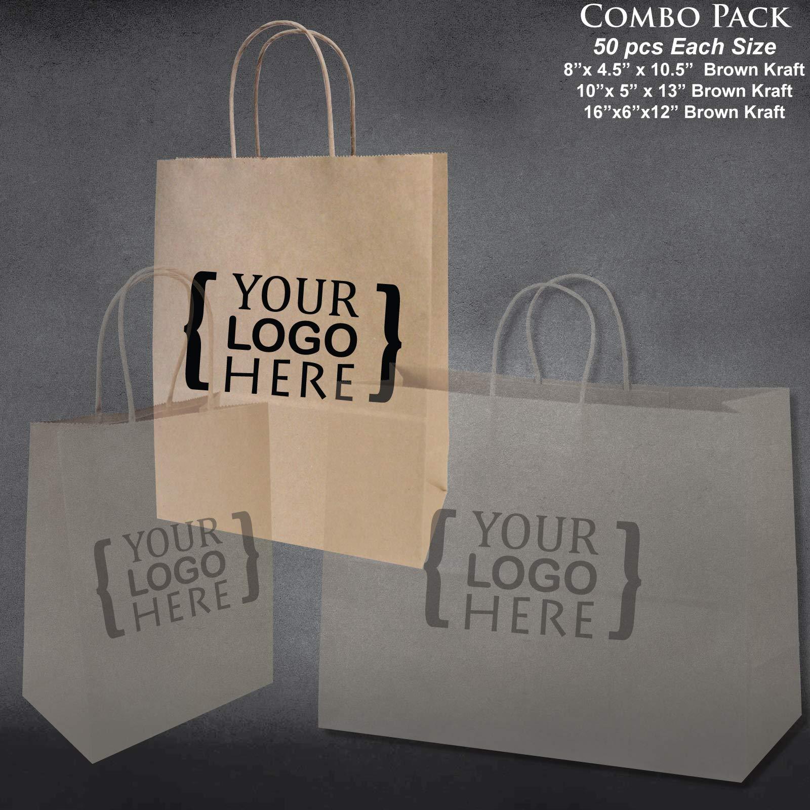 8''x4.75''x10''-10''x5''x13''-16''x6''x12'' - 50 Pcs Each - Custom Printed Bagsource Brown Kraft Paper Bags 95% Post Consumer Materials & FSC Certified … (Custom Printed) by Bag Source (Image #3)