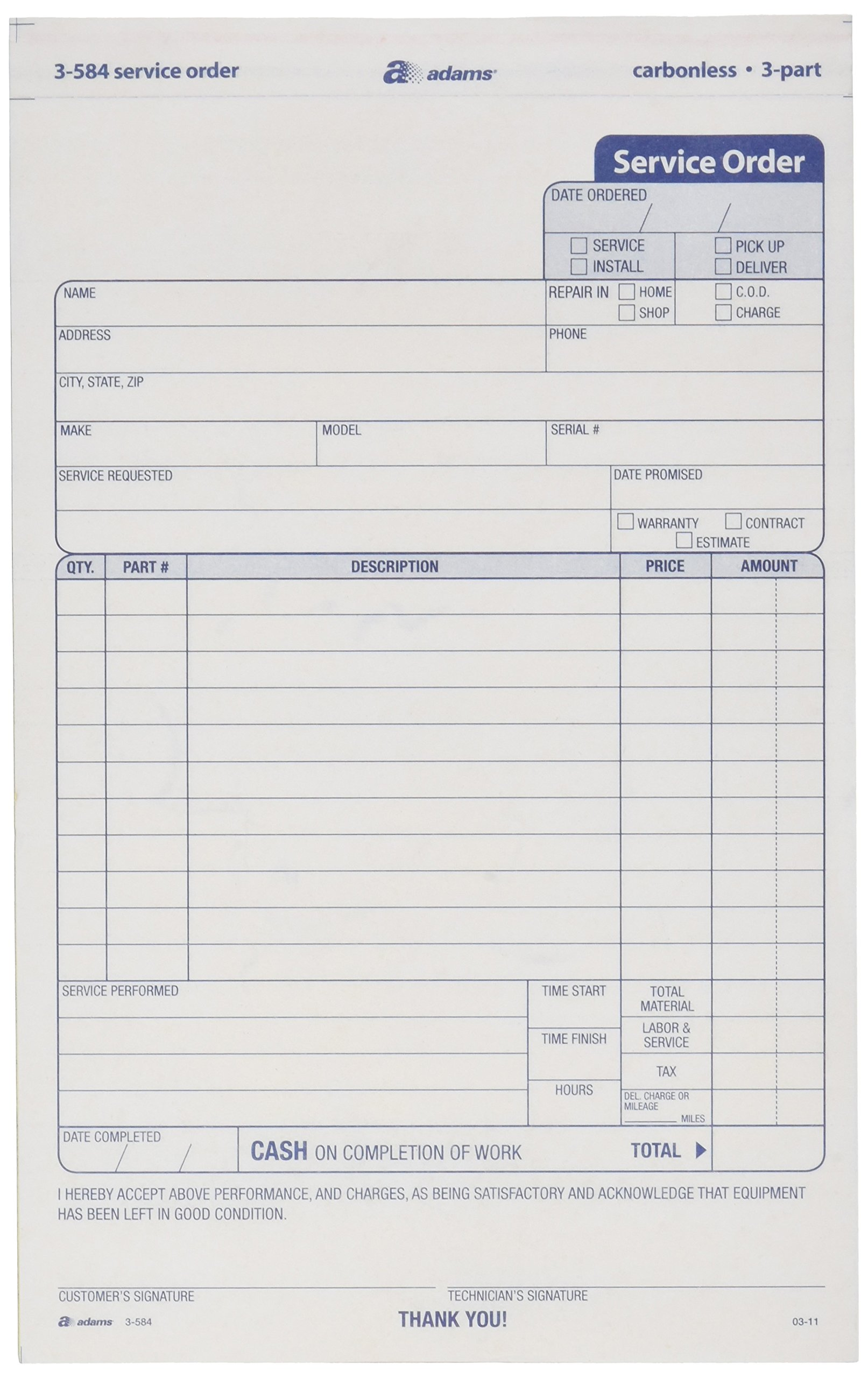 Adams Service Order Form, 3 Part, Carbonless, 5 2/3''X9'' Inches, 250 Sets per Pack (3-584)